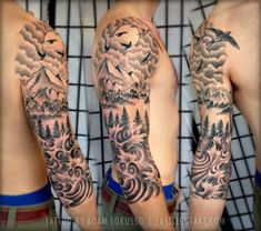 www.askideas.com media 72 Mountains-And-Birds-With-Trees-Tattoo-On-Right-Sleeve.jpg