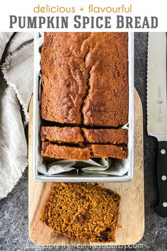 Pumpkin Spice Bread is a classic fall recipe! This no-fail, moist and spicy cake is delicious for snacking or as dessert with a scoop of vanilla ice cream! Pumpkin Spice Bread, Pumpkin Loaf, Pumpkin Recipes, Fall Recipes, Yummy Recipes, Joy Of Cooking, French Toast Bake, Sweet Bread, Spicy