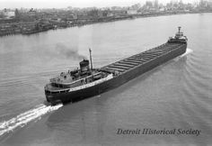 Detroit Historical Society The EDMUND FITZGERALD went down in a storm on Lake Superior on November In this 1959 photo, the freighter was captured from the vantage point of the Ambassador Bridge over the Detroit River. Great Lakes Map, Great Lakes Ships, Titanic Underwater, Edmund Fitzgerald, Detroit Michigan, Lake Superior, Shipwreck, Historical Society, Abandoned