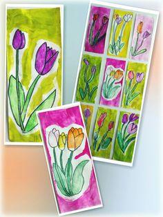 Kevät, tulppaanit. Lyijykynällä hahmotus. Akvarellipuuväreillä väritys. Kostealla siveltimellä puhtaalla vedellä värin levitys. Mustalla permanent-tussilla kukan vahvistus. Tausta peitevärillä(nappi tai pullo). Valkoisella liidulla kasvin rajaus, joka jätettiin maalaamatta. 1.lk/AHP