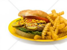 burger and fries - A plate filled with a burger and fries