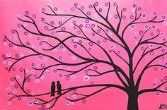Candy Pink Two Birds in a Tree Whimsical Painting