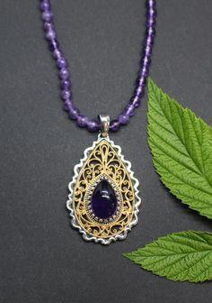 Trachtenschmuck Damen Elegant, Pendant Necklace, Amethyst, Jewelry, Fashion, Lilac, Rhinestones, Dirndl, Nice Asses