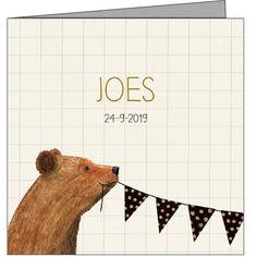 Lief #geboortekaartje met #beer en vlaggenlijn.