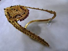Sharada silver shop : Silver Arm band with gold polish.