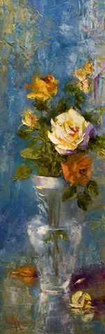 """Oil painting """"A White Rose III"""" 36""""x12"""" by artist Nora Kasten"""