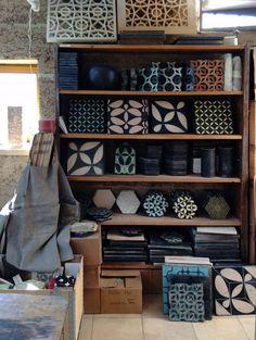 KARAK designer tiles_ a shelf of samples and tests in our workshop in western Austria A Shelf, Shelves, Rauch, Rammed Earth, Handmade Tiles, Village Houses, Geometric Wall, Tile Design, Wall Tiles