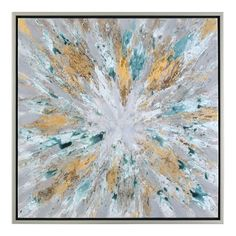 'Exploding Star Modern' Abstract Framed Oil Painting Print on Canvas