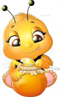 Buy Bee on a White Background by on GraphicRiver. funny bee painted on a white background Cartoon Bee, Cartoon Clip, Cute Cartoon, Bee Rocks, Free Emoji, Bee Pictures, Bee Drawing, Cute Bee, Bee Art