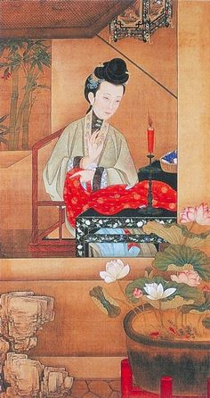 "雍親王題書堂深居圖屏,1709-1723。""The Twelve Beauties,"" ""Twelve Concubines of the Emperor Yongzheng"""