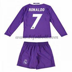 Billiga Fotbollströjor Kits Real Madrid Barn 2016-17 Ronaldo 7 Långärmad  Borta Fotbollsdräkter 5452e074e17ab