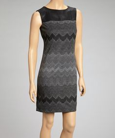 Take a look at this Black Faux Leather Shift Dress - Women by Muse on #zulily today!