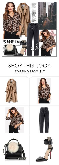 """""""SHEIN:Pocket Patch Curved Hem Leopard Print Shirt"""" by mimi-24 on Polyvore featuring Les Petits Joueurs, Christian Louboutin and Kit Heath"""