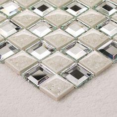 Porcelain Porcelain Glass Tile Wall Backsplash Fireplace Crystal Art Flower Pattern Design Mosaic Tiles 1801. Collection: Porcelain Glass Mosaic Tiles, Size: 300x300mm, Thickness: 5mm