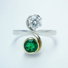 0.50ct 'D' Internally Flawless Diamond and round emerald 2 stone ring in the form of an initial 'S' mounted in platinum & 18ct yellow gold. Dress Rings, Stone Rings, Emerald, Initials, Stud Earrings, Engagement Rings, Yellow, Diamond, Gold