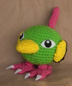 Natu is a cute pokemon, he has these big eyes like a night-hawk that were very hard to get right lol. I tried to make the wings all croch. Pokemon Crochet Pattern, Crochet Patterns, Crochet Ideas, Crochet Teddy, Crochet Hats, Plushie Patterns, Diy Crafts For Gifts, Cute Pokemon, Crochet Animals