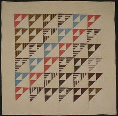 """Birds in the Air Crib Quilt: Ca. 1880; Pa.      Small triangles, with excellent use of light and dark, truly convey the sense of Birds in the Air, as this pattern is so aptly named. Well pieced and quilted with cable pattern in border. Blocks nicely miniaturized to fit the scale of the quilt. Beautiful selection of fabrics; excellent condition. Circa 1880; Pennsylvania origin. Measures 38"""" square."""