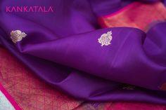 A beautiful Banarasi Purple saree with floral zari motifs woven intricately with a pink border and pallu with checked pattern.  #purple #banarasi #weave #kankatala #handloom