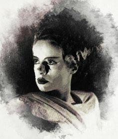 Digital Art - Elsa Lanchester, Bride Of Frankenstein by Esoterica Art Agency , Elsa Lanchester, Bride Of Frankenstein, New Movies, Icon Design, Horror, Digital Art, It Cast, Actresses, Art Prints