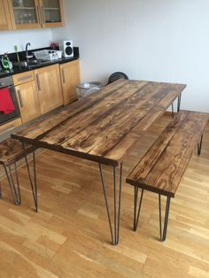 A stunning wooden desk/table made from reclaimed scaffolding boards the top has been sanded smooth w