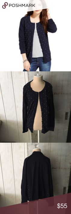 "Tommy Hilfiger polka dot navy cardigan Polka dot size large navy Cardigan.    Brand:tommy Hilfiger  Measurements: total length. 24"" 🚫modeling  🚫trades (askers will be ignored) or lowballing  ✅ will consider offers made through BLUE offer button.  LB ✅ great bundle Tommy Hilfiger Sweaters Cardigans"