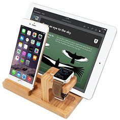 awesome Apple Watch Dock, iPhone Stand, iPad Stand,   Natural Bamboo Body Desk Charging Station, Apple Watch Charging Stand for Apple iWatch 38mm/42mm, Comfortable Viewing Angle for All Phones, iPad, Tablets (Bamboo Stand) Check more at http://forsaletoday.uk/shop/iwatch/apple-watch-dock-iphone-stand-ipad-stand-3-in-1-charging-dock-natural-bamboo-body-desk-charging-station-apple-watch-charging-stand-for-apple-iwatch-38mm42mm-comfortable-viewing-angle-for-all/