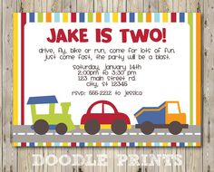 Printable Transportation Birthday Party Invitation Cars Trucks Invitations Boy