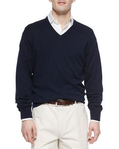 Long-Sleeve+V-Neck+Sweater,+Navy+by+Peter+Millar+at+Neiman+Marcus.