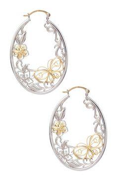 14K Yellow Gold & Sterling Silver Oval Filigree Hoop Earrings