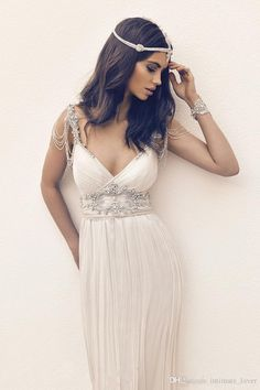 2016 Plunging Neckline Cheap Wedding Dresses Bridal Gowns Chiffon Beads Sleeveless Floor Length A Line Wedding Dress Wedding Dresses Under 200 Wedding Gown Rental From Intimate_lover, $151.76| Dhgate.Com