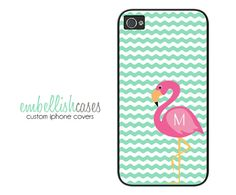 Monogrammed iPhone 4 Case FLAMINGO  pink and by EmbellishCases, $16.99