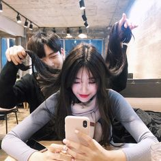 Image may contain: 2 people, phone and indoor Korean Best Friends, Boy And Girl Best Friends, Ulzzang Korean Girl, Ulzzang Couple, Boy And Girl Friendship, Couple With Baby, Mode Kawaii, Korean Couple, Cute Family