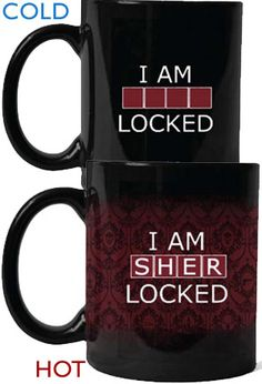 "<P><b>Even super sleuths need caffeine to <i>unlock</i> their full potential.</b> <br>Show your allegiance to all things Sherlock in this officially licensed heat-sensitive mug featuring the memorable phrase 'I am SHER-locked', brilliantly used to unlock Irene Adler's phone in the award winning episode A Scandal in Belgravia.</p> <p><a href=""http://shop.bbc.com/invt/19267"">Also available in Blue </a> </p>"