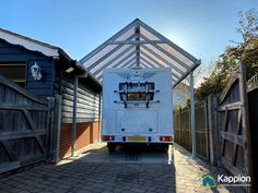 This canopy is 3.37m x 8.9m with bolt down foot plates and a galvanised finish. Opal polycarbonate was chosen to glaze the roof. For more information visit www.carports-canopies.com or call us on 01543 543 007