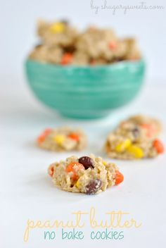 Peanut Butter No Bake Cookies with Reese's Pieces: delicious, no oven necessary - make with GF oats