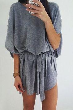 Gray dress.