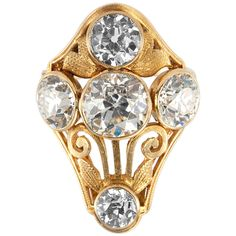 Arts and Crafts Old European Cut Diamond Gold Ring   From a unique collection of vintage cocktail rings at https://www.1stdibs.com/jewelry/rings/cocktail-rings/