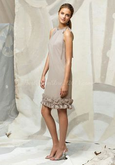 Chic Chiffon Sheath/Column Jewel Neck Knee-length  Dress With Tiers  { mother of bride if the bridesmaids wear short dresses }