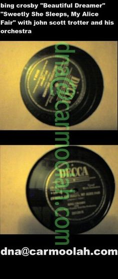 """bing crosby """"Beautiful Dreamer"""" """"Sweetly She Sleeps, My Alice Fair"""" with john scott trotter orchestra decca vinyl music records for sale 78 rpm NM Near Mint"""