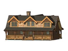 Citico Creek Cottage C Front Elevation -- Natural Element Homes Timber Frame Home Plans, Timber Frame Homes, Cabin Homes, Log Homes, B Plan, How To Plan, Log Cabin Plans, Room Planning, Cottage Design