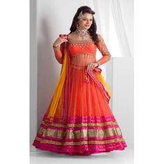 Buy Priyanshu Creation Orange Net Semi Stitched Suit by undefined, on Paytm, Price: Rs.1310?utm_medium=pintrest
