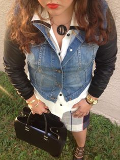 Plaid meets Denim and Leather