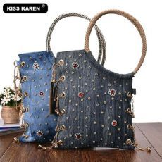 designer tote bag Picture - More Detailed Picture about KISS KAREN Luxury Women Bag Rhinestone Studs Fashion Totes Jeans Women's Shoulder Bags Denim Ladies Handbags Designer Tote Bag Picture in Top-Handle Bags from KISS KAREN Official StoreLuxury Rhi Denim Handbags, Tote Handbags, Ladies Handbags, Vintage Denim, Vintage Fashion, New Casual Fashion, Fashion Group, Diy Tote Bag, Tote Bags