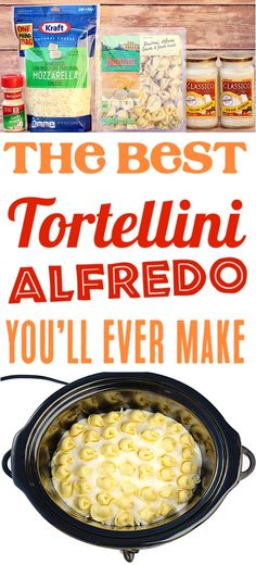 {Just 4 Ingredients} – The Frugal Girls Crockpot Alfredo Tortellini Recipe! {Just 4 Ingredients} – The Frugal Girls,Crockpot Recipes Crockpot Alfredo Tortellini! This Easy Slow Cooker Pasta is just Crock Pot Food, Crockpot Dishes, Good Crock Pot Recipes, East Crockpot Meals, Crockpot Recipes Pasta, Crockpot Lunch, Healthy Recipes, Crock Poy Recipes, Crock Pit Meals