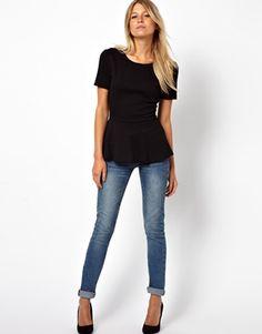 Black peplum top, boyfriend jeans, heels...MY FAVORITE LOOK!!