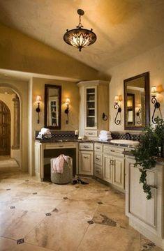 Rustic Italian Home Dream Bathrooms, Beautiful Bathrooms, Bathrooms Online, Luxury Bathrooms, Master Bathrooms, Small Bathrooms, Tuscan Bathroom Decor, Bathroom Sconces, Gold Bathroom