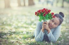 happy valentines day beautiful old woman holding bouquet rose red
