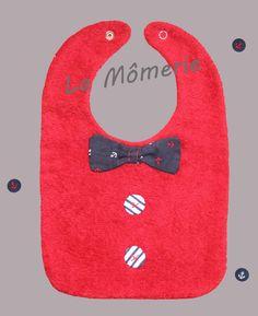 Bavoir bébé chic nœud marin et bouton tissu rayures marines : Mode Bébé par la-momerie