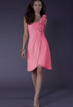 Discount Chiffon One-Shoulder A-Line Short Bridesmaid Dress With Rosettes On Strap Free Measurement
