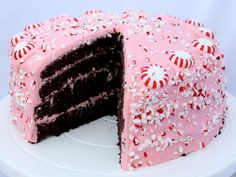 Chocolate Fudge Cake with Pink Peppermint Cream Cheese Frosting!